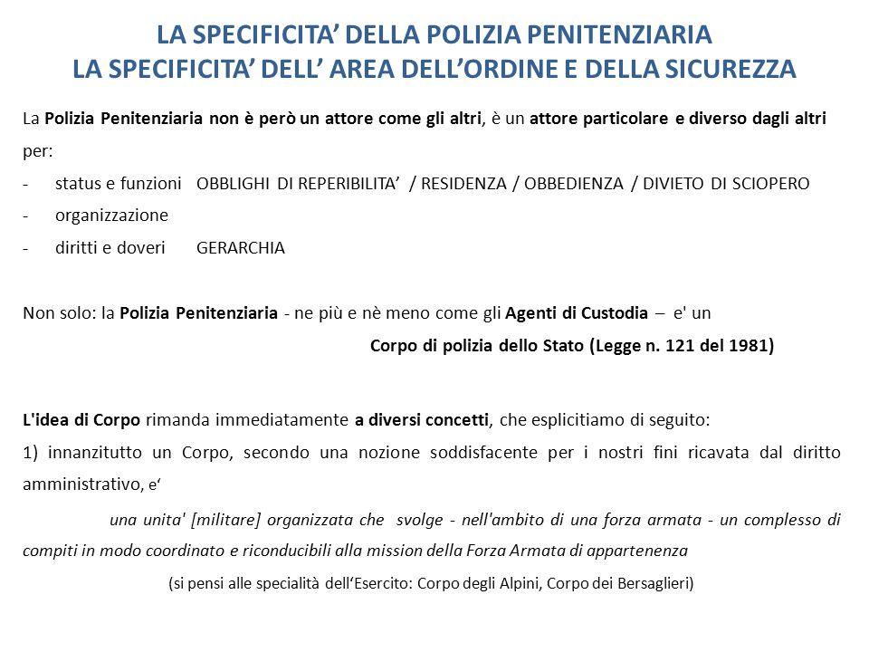 LA SPECIFICITA' DELLA POLIZIA PENITENZIARIA LA SPECIFICITA' DELL' AREA DELL'ORDINE E DELLA SICUREZZA