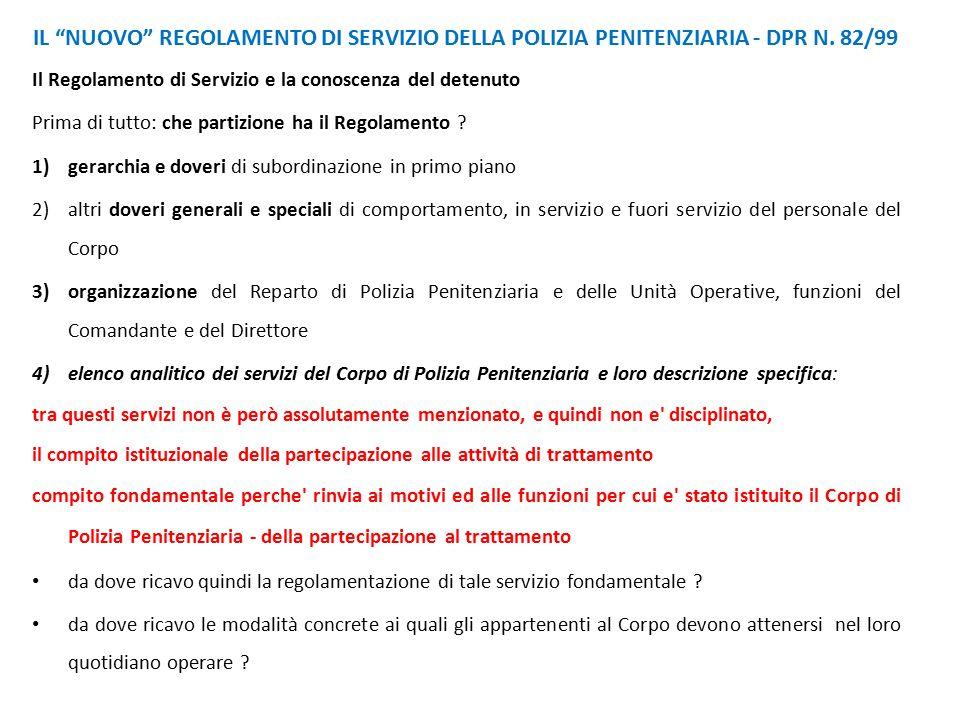IL NUOVO REGOLAMENTO DI SERVIZIO DELLA POLIZIA PENITENZIARIA - DPR N
