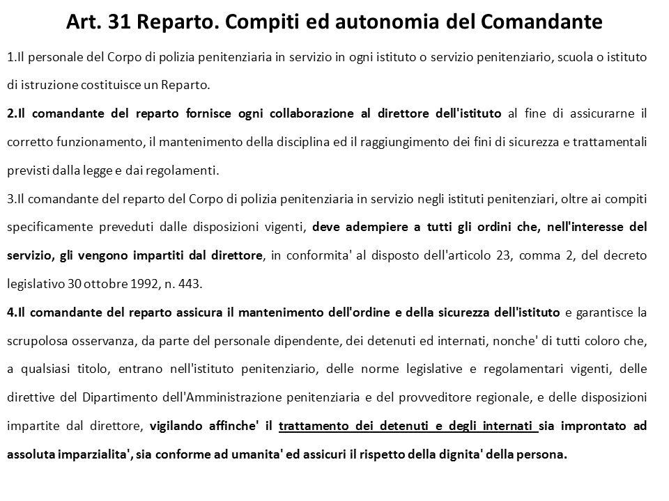 Art. 31 Reparto. Compiti ed autonomia del Comandante