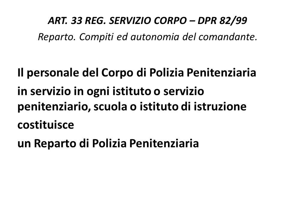 ART. 33 REG. SERVIZIO CORPO – DPR 82/99