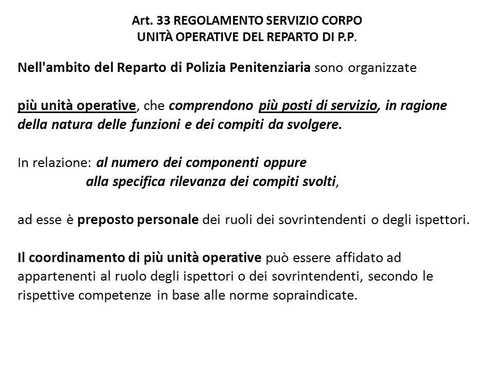 Art. 33 REGOLAMENTO SERVIZIO CORPO UNITÀ OPERATIVE DEL REPARTO DI P.P.