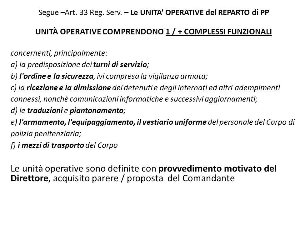 Segue –Art. 33 Reg. Serv. – Le UNITA' OPERATIVE del REPARTO di PP