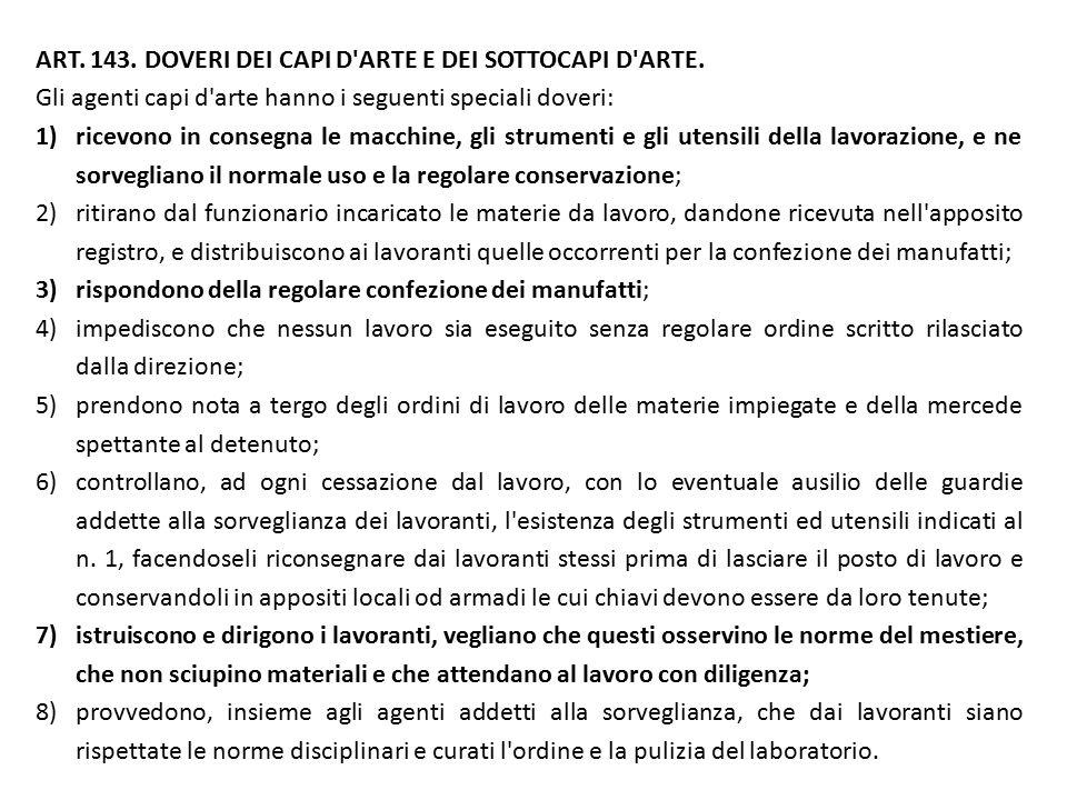 ART. 143. DOVERI DEI CAPI D ARTE E DEI SOTTOCAPI D ARTE.