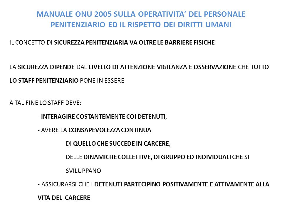 MANUALE ONU 2005 SULLA OPERATIVITA' DEL PERSONALE PENITENZIARIO ED IL RISPETTO DEI DIRITTI UMANI