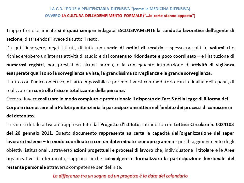 LA C.D. POLIZIA PENITENZIARIA DIFENSIVA (come la MEDICINA DIFENSIVA)
