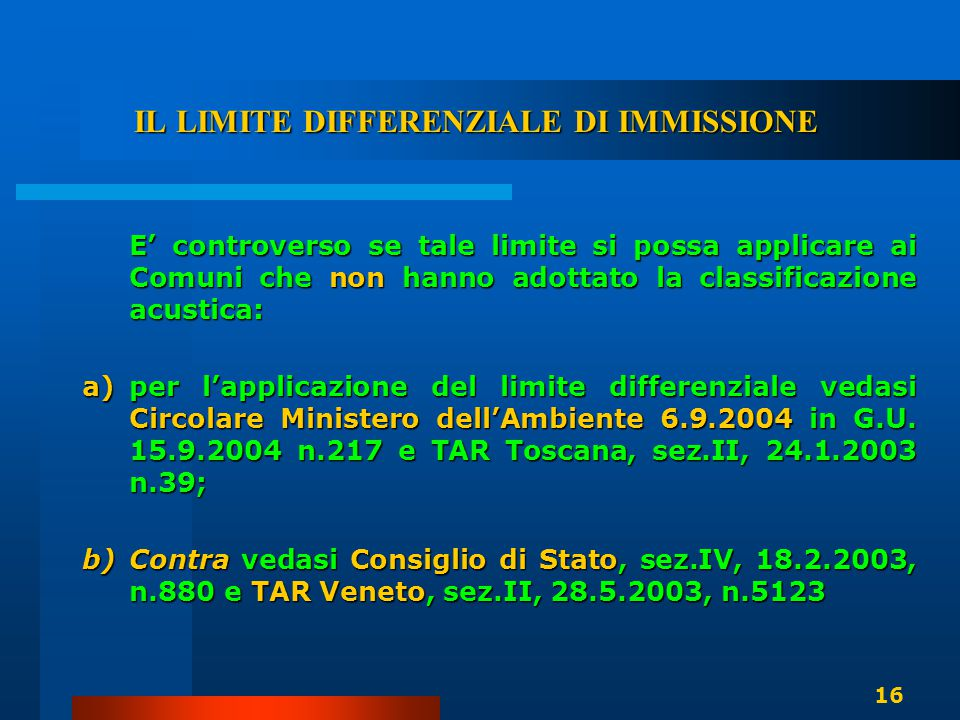IL LIMITE DIFFERENZIALE DI IMMISSIONE