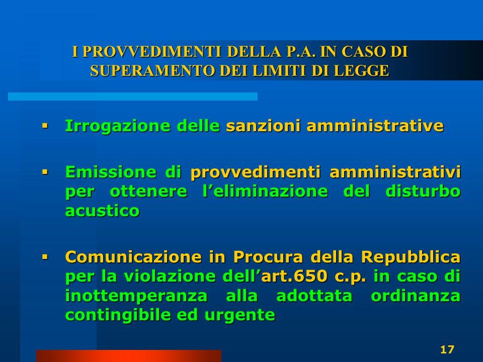 I PROVVEDIMENTI DELLA P.A. IN CASO DI SUPERAMENTO DEI LIMITI DI LEGGE