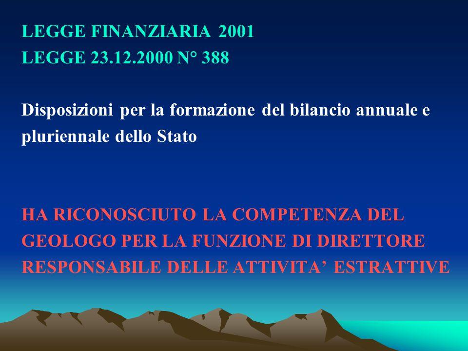 LEGGE FINANZIARIA 2001 LEGGE 23.12.2000 N° 388. Disposizioni per la formazione del bilancio annuale e.