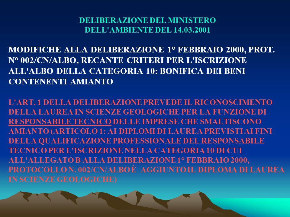 DELIBERAZIONE DEL MINISTERO