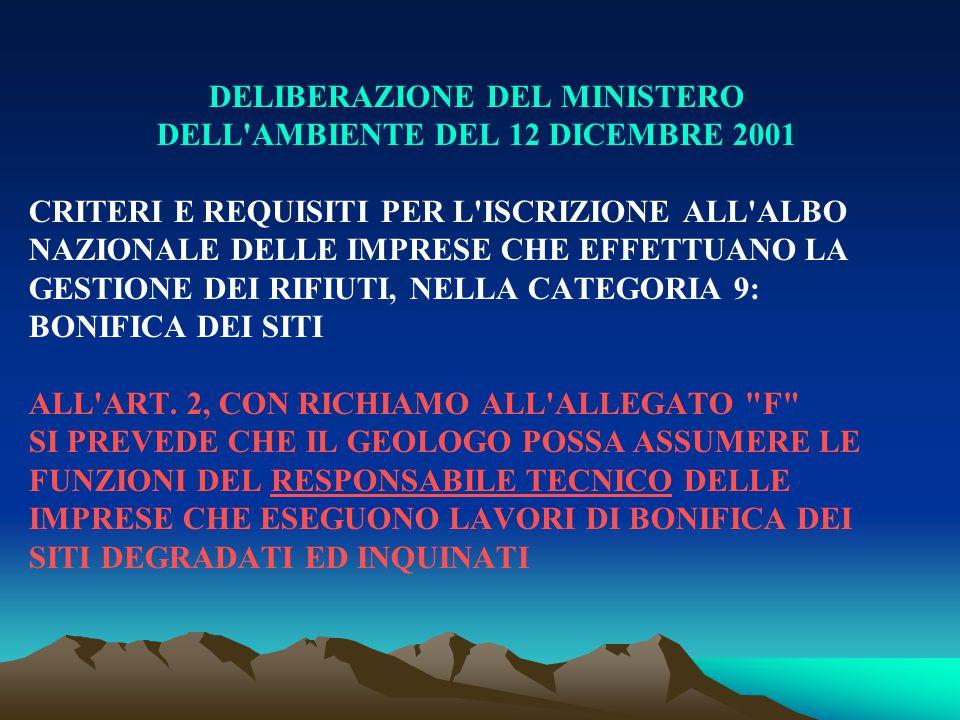 DELIBERAZIONE DEL MINISTERO DELL AMBIENTE DEL 12 DICEMBRE 2001