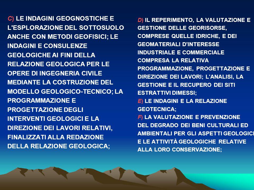 C) LE INDAGINI GEOGNOSTICHE E L ESPLORAZIONE DEL SOTTOSUOLO ANCHE CON METODI GEOFISICI; LE INDAGINI E CONSULENZE GEOLOGICHE AI FINI DELLA RELAZIONE GEOLOGICA PER LE OPERE DI INGEGNERIA CIVILE MEDIANTE LA COSTRUZIONE DEL MODELLO GEOLOGICO-TECNICO; LA PROGRAMMAZIONE E PROGETTAZIONE DEGLI INTERVENTI GEOLOGICI E LA DIREZIONE DEI LAVORI RELATIVI, FINALIZZATI ALLA REDAZIONE DELLA RELAZIONE GEOLOGICA;