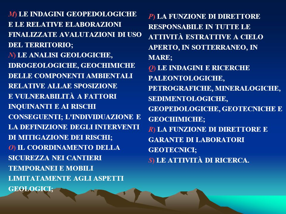 M) LE INDAGINI GEOPEDOLOGICHE