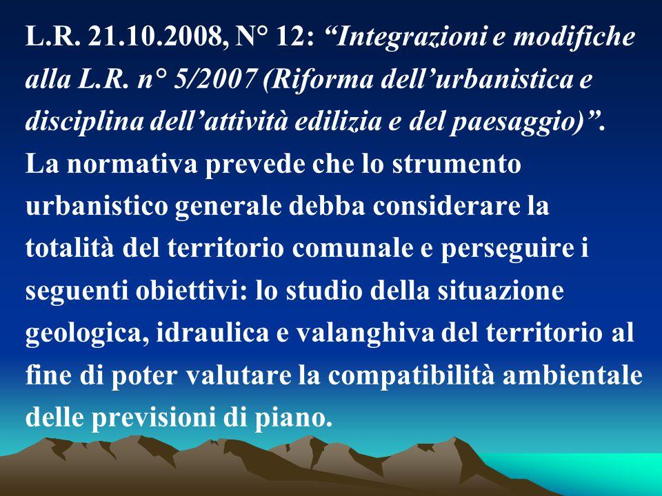 L.R. 21.10.2008, N° 12: Integrazioni e modifiche
