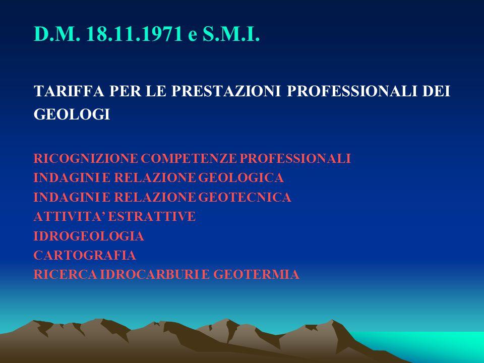 D.M. 18.11.1971 e S.M.I. TARIFFA PER LE PRESTAZIONI PROFESSIONALI DEI