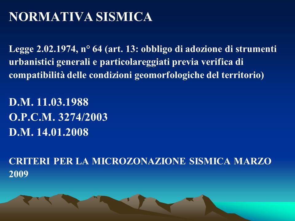 NORMATIVA SISMICA D.M. 11.03.1988 O.P.C.M. 3274/2003 D.M. 14.01.2008