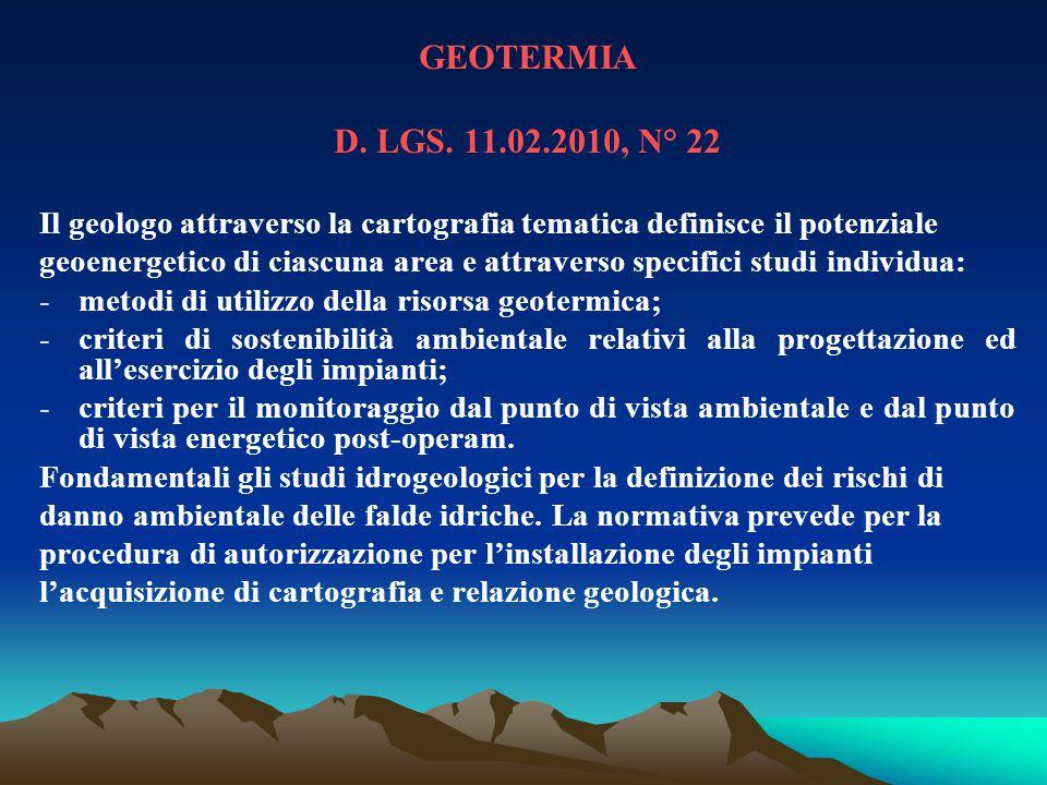 GEOTERMIA D. LGS. 11.02.2010, N° 22. Il geologo attraverso la cartografia tematica definisce il potenziale.
