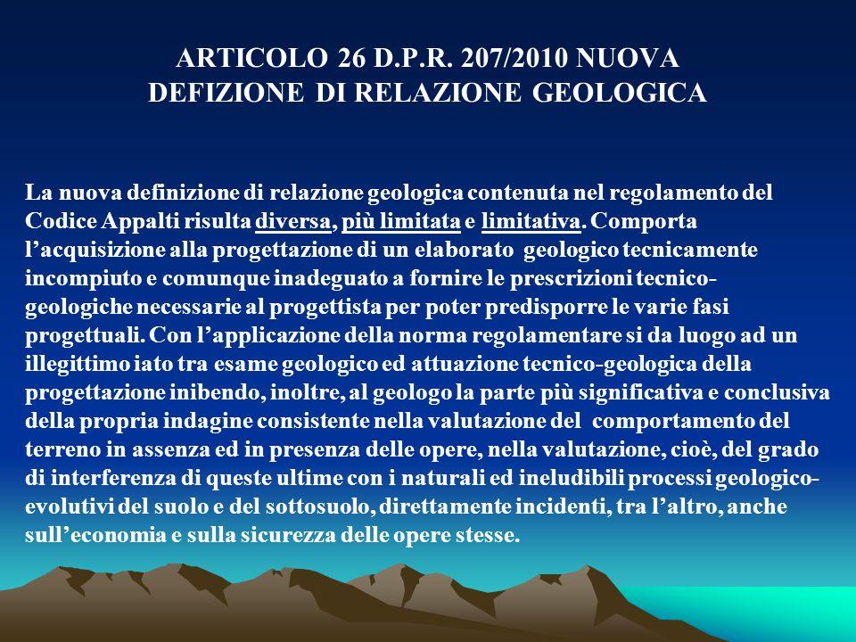 DEFIZIONE DI RELAZIONE GEOLOGICA