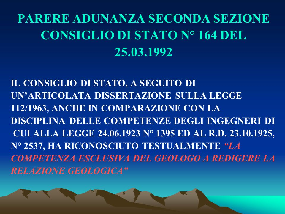 PARERE ADUNANZA SECONDA SEZIONE CONSIGLIO DI STATO N° 164 DEL