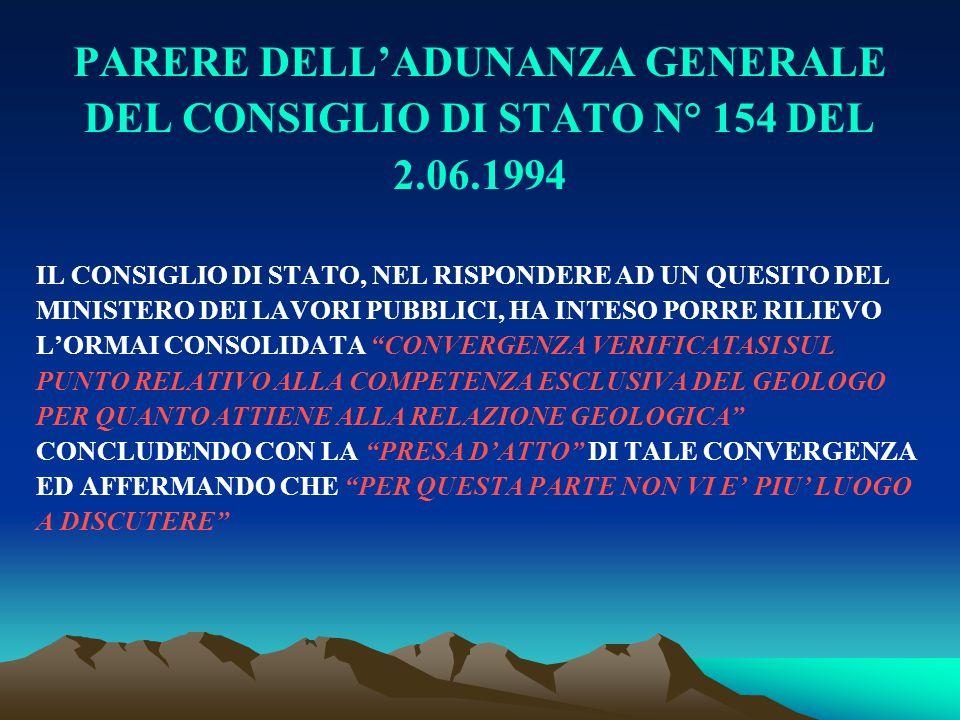 PARERE DELL'ADUNANZA GENERALE DEL CONSIGLIO DI STATO N° 154 DEL