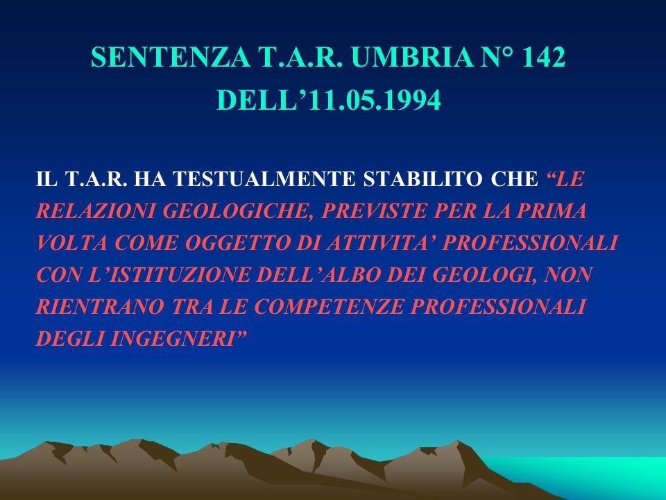 SENTENZA T.A.R. UMBRIA N° 142 DELL'11.05.1994