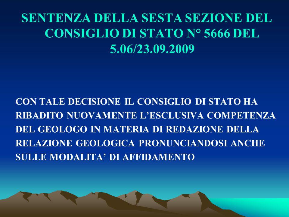 SENTENZA DELLA SESTA SEZIONE DEL CONSIGLIO DI STATO N° 5666 DEL 5