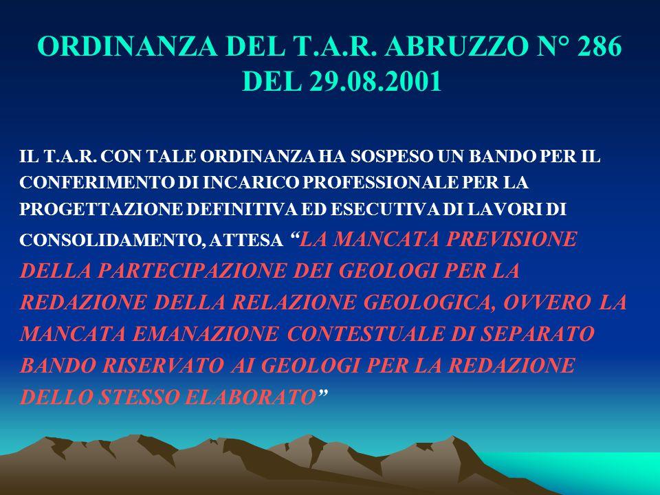 ORDINANZA DEL T.A.R. ABRUZZO N° 286 DEL 29.08.2001
