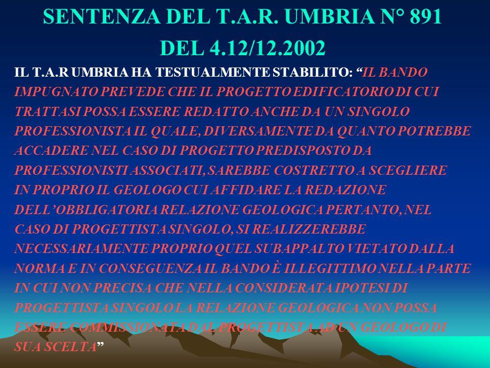 SENTENZA DEL T.A.R. UMBRIA N° 891