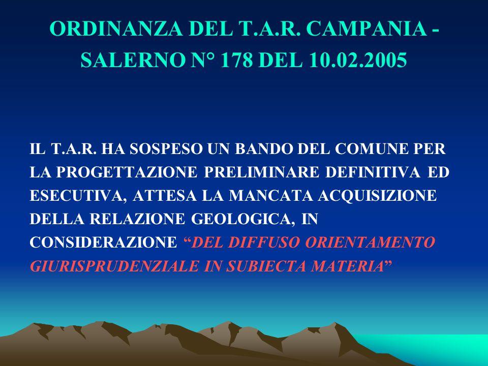 ORDINANZA DEL T.A.R. CAMPANIA -