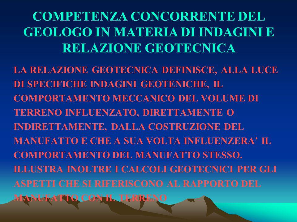 COMPETENZA CONCORRENTE DEL GEOLOGO IN MATERIA DI INDAGINI E RELAZIONE GEOTECNICA