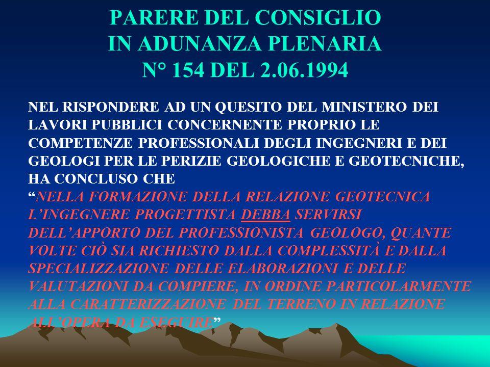 PARERE DEL CONSIGLIO IN ADUNANZA PLENARIA N° 154 DEL 2.06.1994