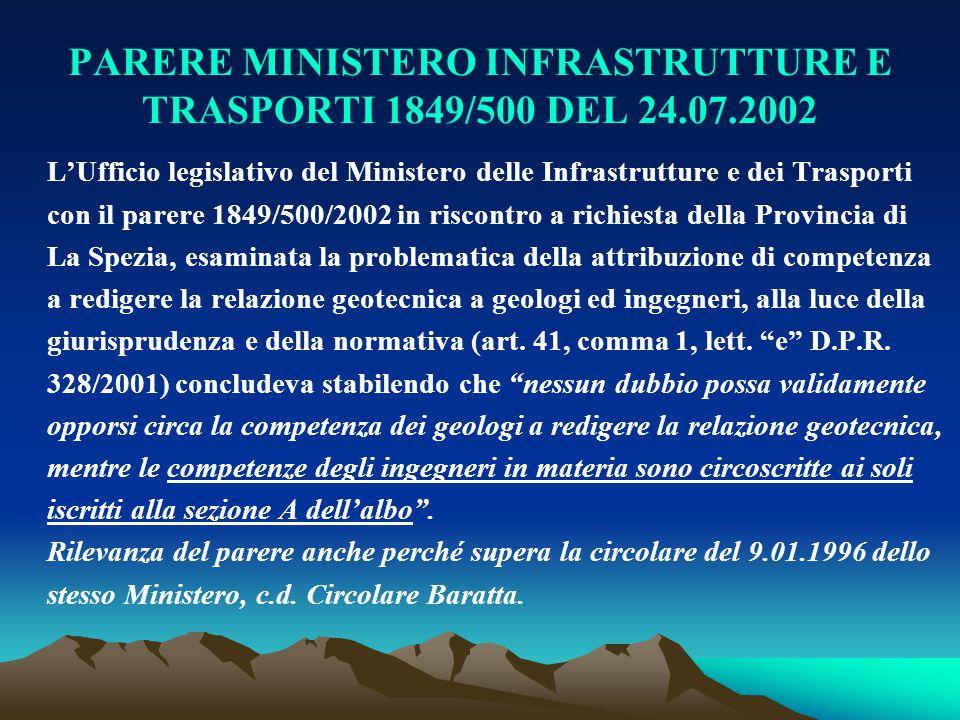 PARERE MINISTERO INFRASTRUTTURE E TRASPORTI 1849/500 DEL 24.07.2002