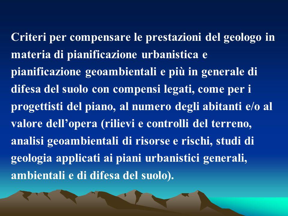 Criteri per compensare le prestazioni del geologo in