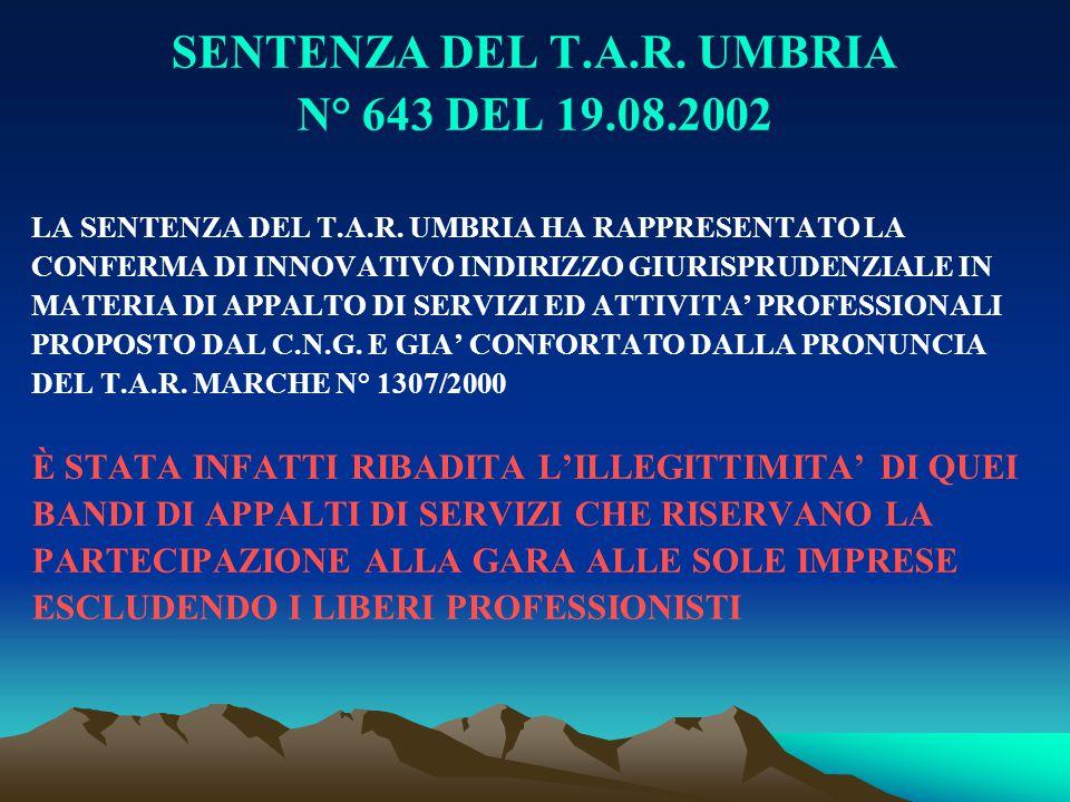 SENTENZA DEL T.A.R. UMBRIA