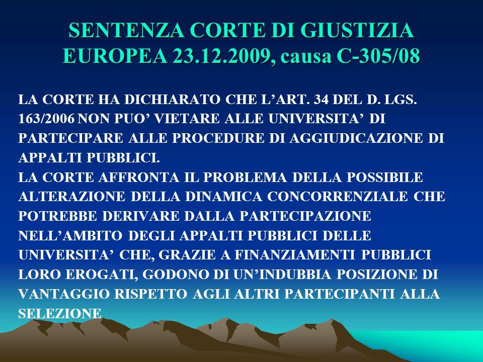 SENTENZA CORTE DI GIUSTIZIA EUROPEA 23.12.2009, causa C-305/08