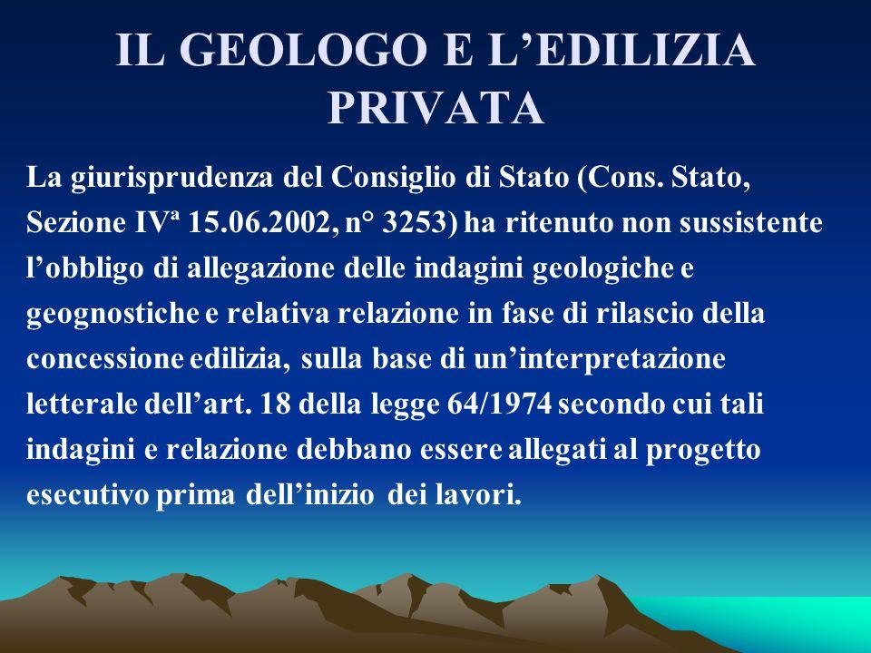 IL GEOLOGO E L'EDILIZIA PRIVATA