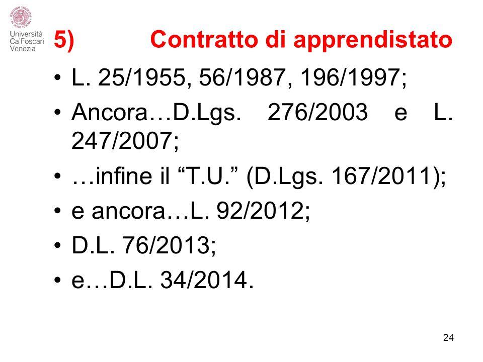 5) Contratto di apprendistato