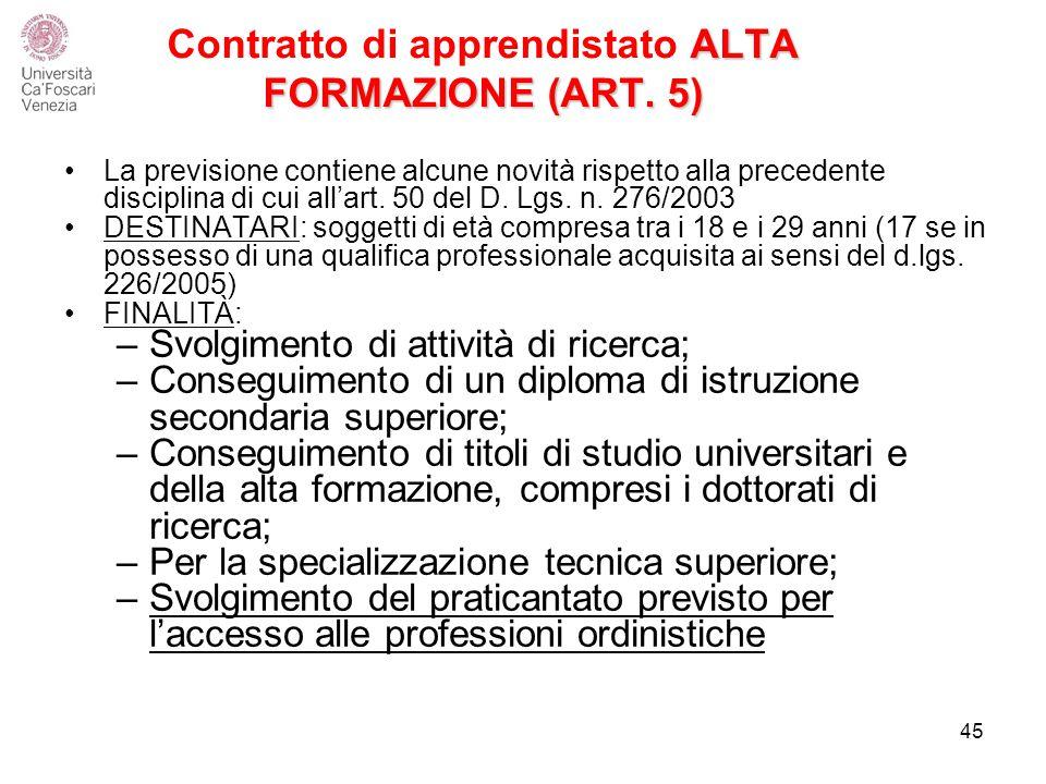 Contratto di apprendistato ALTA FORMAZIONE (ART. 5)