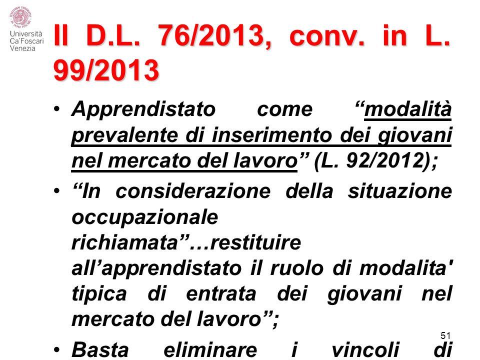 Il D.L. 76/2013, conv. in L. 99/2013 Apprendistato come modalità prevalente di inserimento dei giovani nel mercato del lavoro (L. 92/2012);