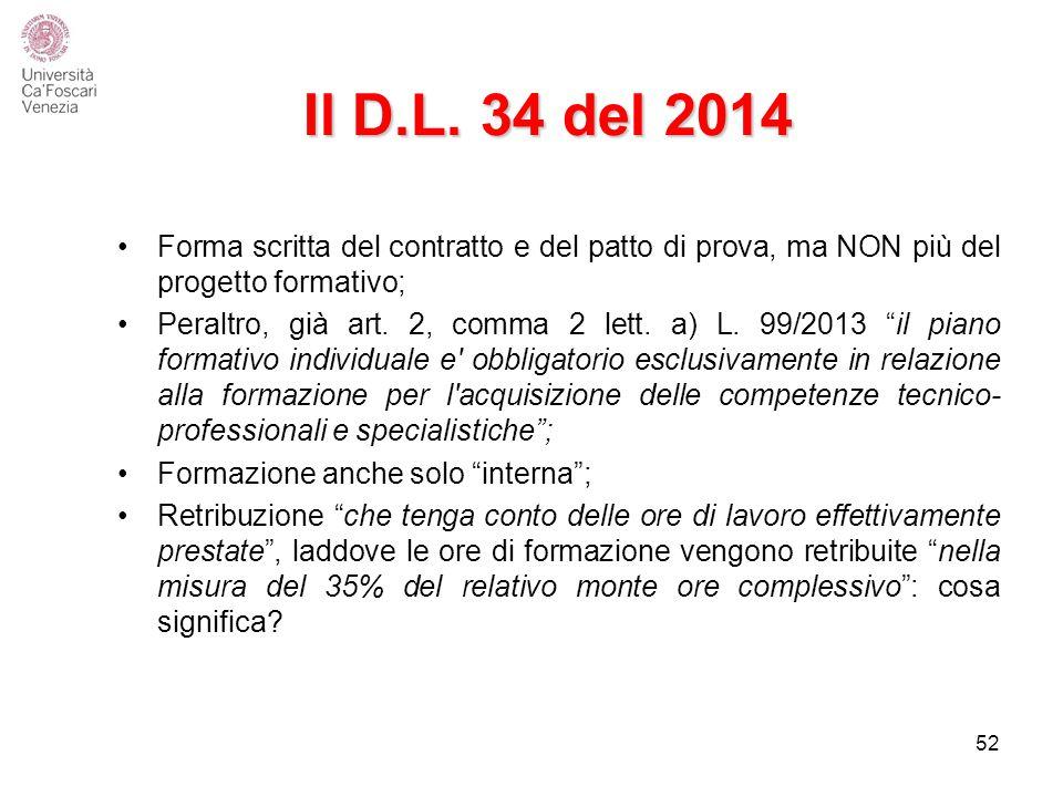 Il D.L. 34 del 2014 Forma scritta del contratto e del patto di prova, ma NON più del progetto formativo;