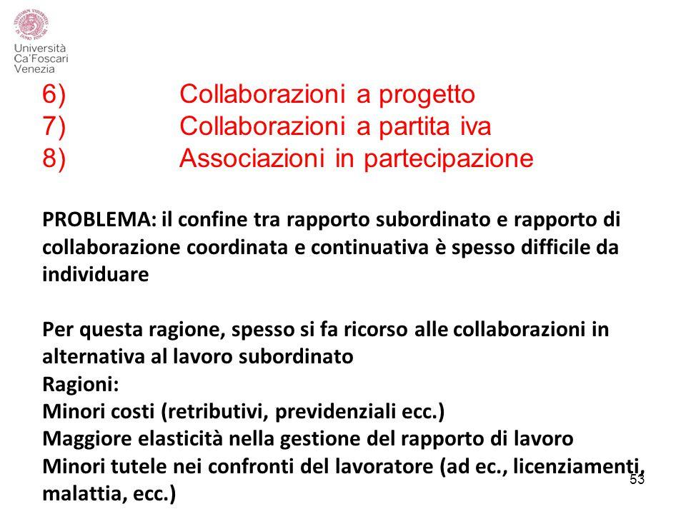 6). Collaborazioni a progetto 7). Collaborazioni a partita iva 8)