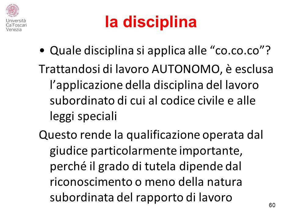 la disciplina Quale disciplina si applica alle co.co.co
