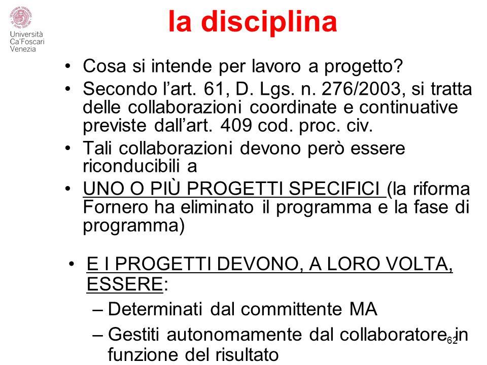 la disciplina Cosa si intende per lavoro a progetto