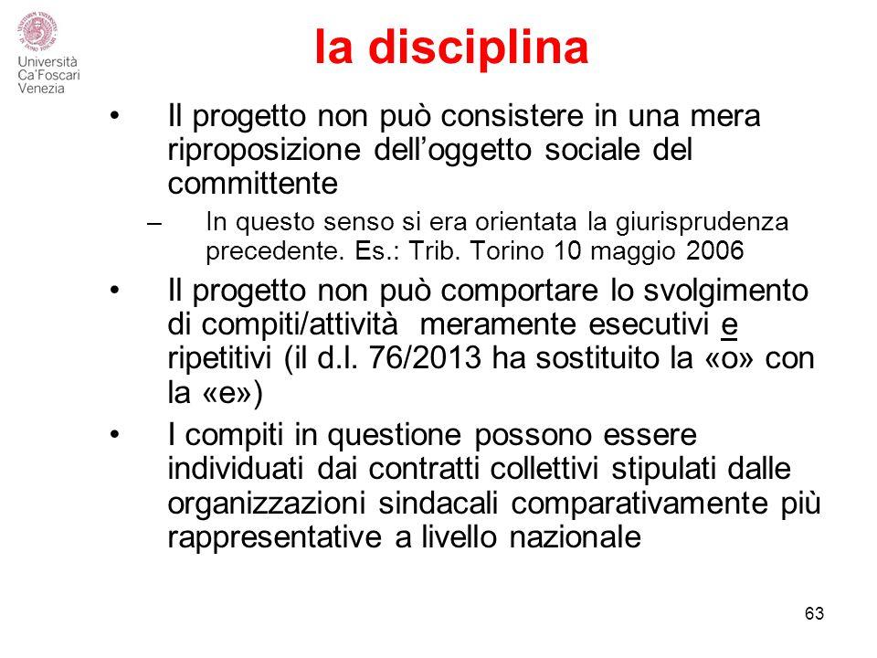 la disciplina Il progetto non può consistere in una mera riproposizione dell'oggetto sociale del committente.