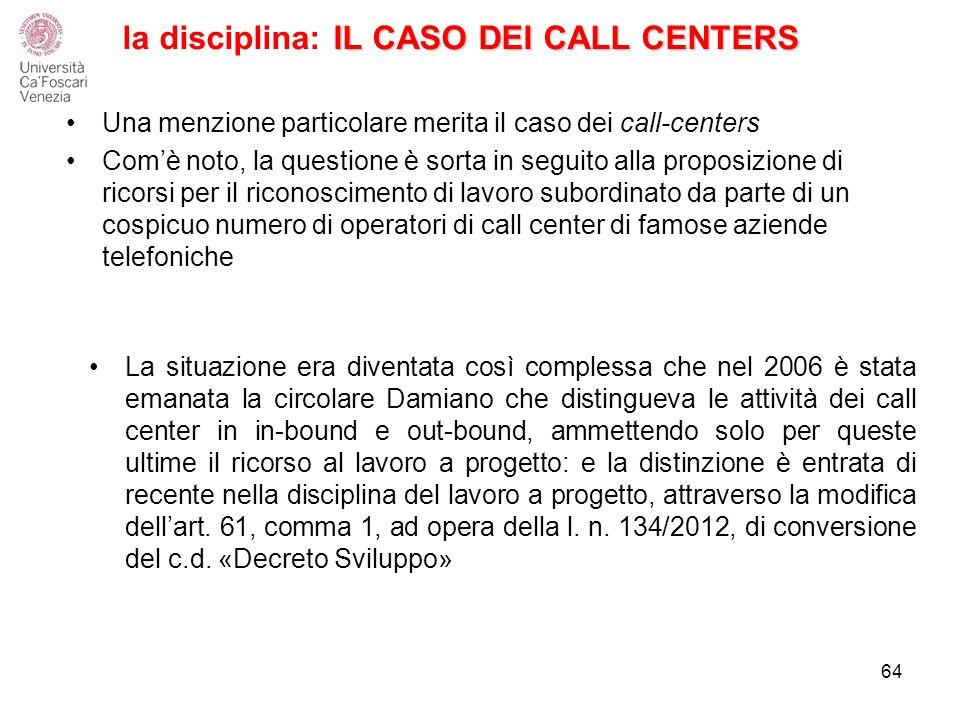 la disciplina: IL CASO DEI CALL CENTERS