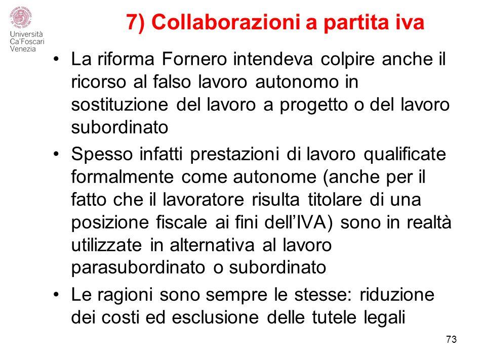 7) Collaborazioni a partita iva