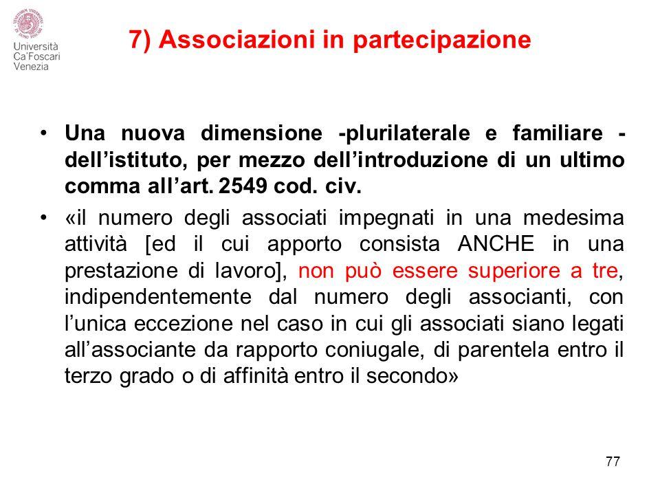 7) Associazioni in partecipazione