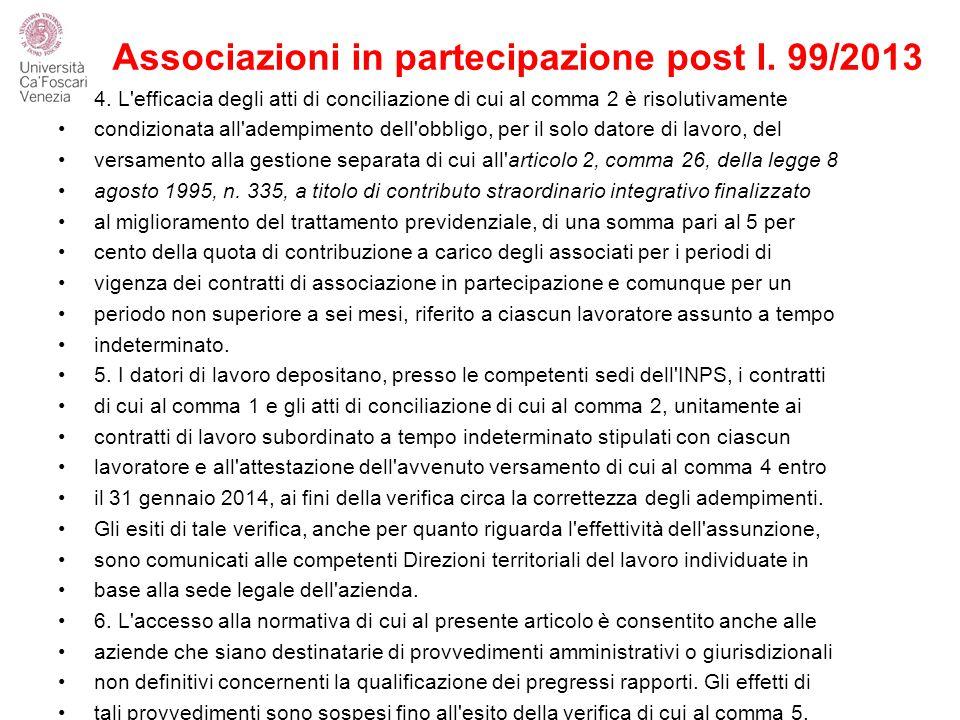 Associazioni in partecipazione post l. 99/2013