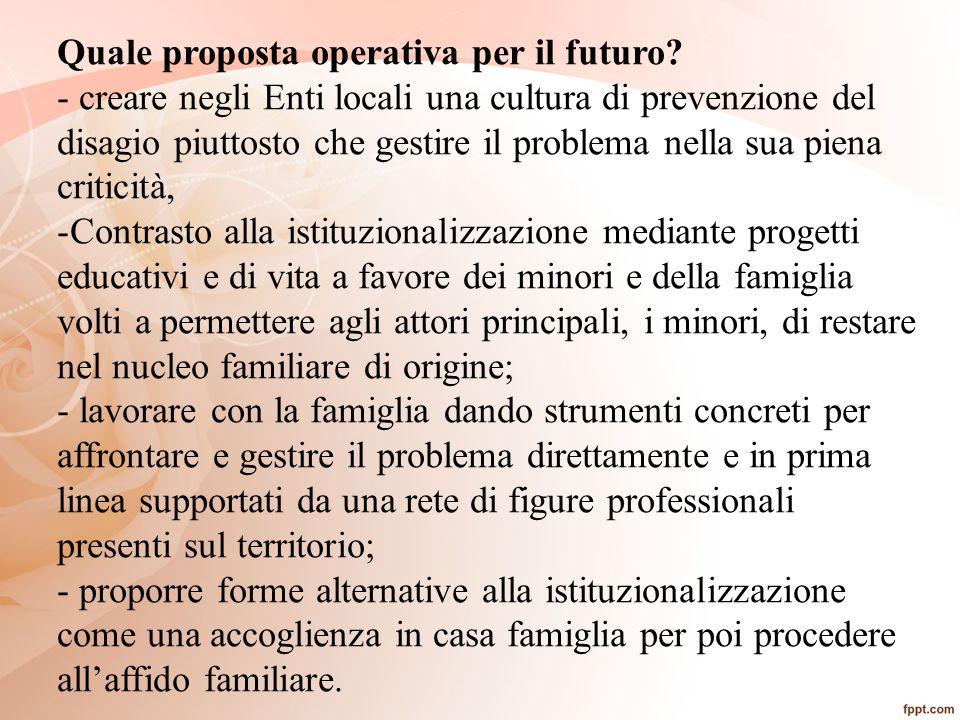Quale proposta operativa per il futuro