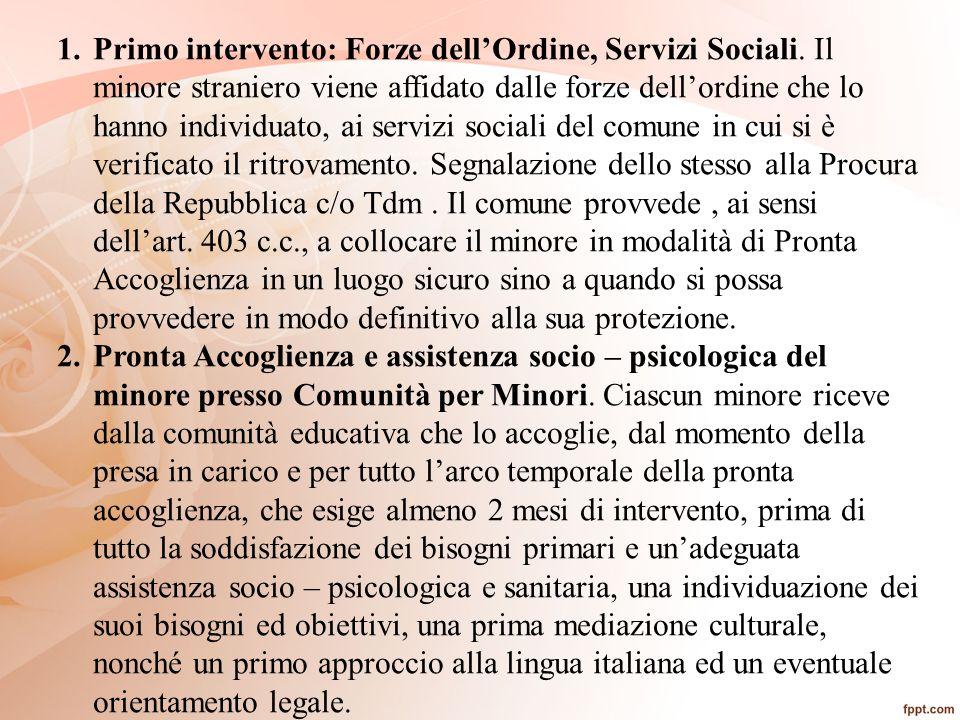 Primo intervento: Forze dell'Ordine, Servizi Sociali