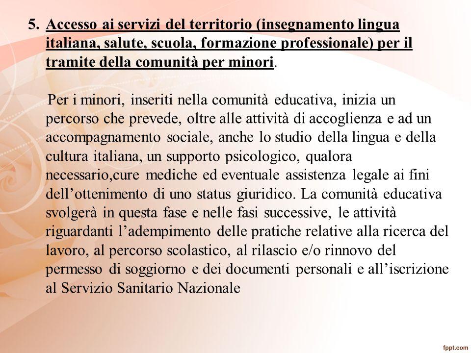 Accesso ai servizi del territorio (insegnamento lingua italiana, salute, scuola, formazione professionale) per il tramite della comunità per minori.